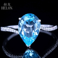 HELON 11x8mm Pear Shape 3.12ct Blue Topaz & 0.1ct Natural Diamonds Ring Solid 14K White Gold Engagement & Wedding Women's Ring