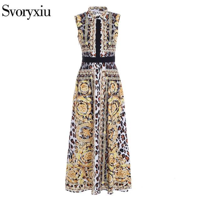Women s Summer Runway Long Dress Fashion Sleeveless Leopard Print Vintage  Party Slim Maxi Long Dress ad712441d