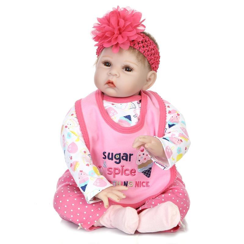 55cm/22 Newborn Infant Pink Sugar Spice Girls Baby Reborn Doll Vinyl Silicone Realistic Toys Gift 6032626