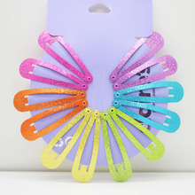 12 pcs/lot fashionable glitter hair snap clips hairgrips Hairclip Hairpins For Kids Bobby Hairclips Hair Styling tools