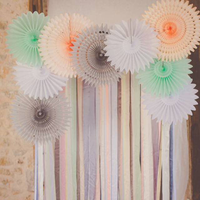 1pc 202530cm Hollow Pinwheel Tissue Paper Fans Flower Craft
