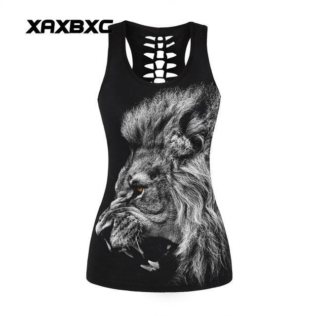 b5a84ad102b1cb XAXBXC 027 Summer Sexy Girl Tank Tops African Lions Beast Prints Hollow Out  Elastic Slim Fitness Women Top Vest Waistcoat
