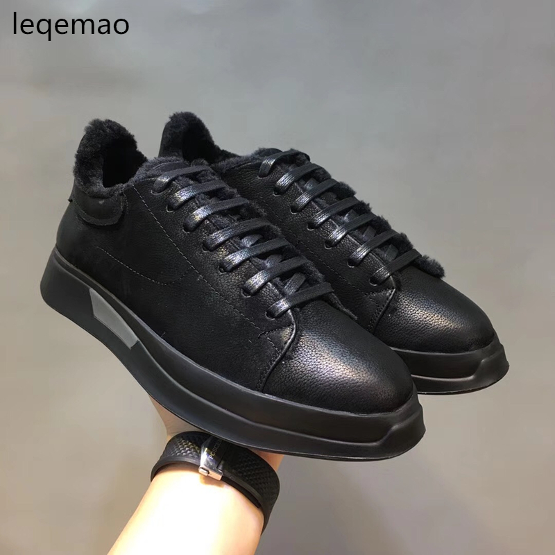 2018 New Fashion Luxury Brand Men Loafers Winter Fur Warm Sneakers Genuine Leather High Quality Lace-up Black Casual Shoes 38-44 cbjsho spring winter luxury brand genuine leather casual fashion men shoes autumn high quality loafers moccasins men flats shoes