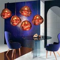 Artpad Post Modern Creative Design Plated Lava Pendant Lights Glass Shade E27 Melt Pendant Lamp For