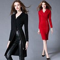 V-neck Elegant Female Spring Summer OL Lady Women Dress High Waist Dress long Sleeve Plus Size Sexy