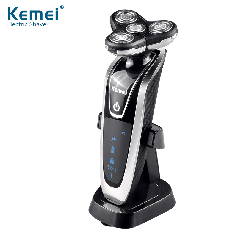 Kemei New Division 3 in 1 Multifunctional Electric Shaver Razor Washable Rotary Four Segment Waterproof 6