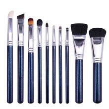 CHMAKE 10PCS makeup brushes Crystal Blue big highlighter blush contour brush kit cosmetic goat horse raccoon hair