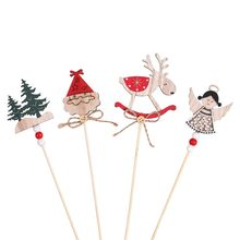 3PCS/Set Wooden Santa Claus Xmas Tree Cake Toppers Merry Christmas Festival Party Decorations Christmas Dessert Decor Supplies(China)