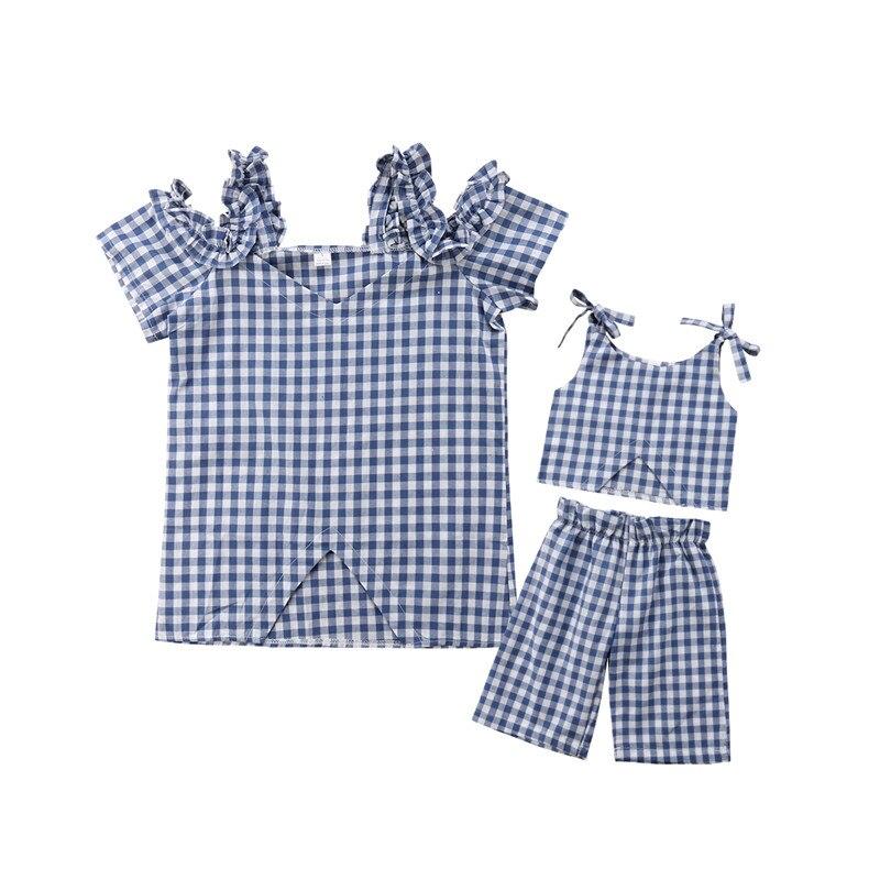 100% Wahr Familie Passenden Kleidung Mutter Und Tochter Baby Kinder Mädchen Plaid Bluse Tops + Shorts Hosen Frauen T Shirt Outfits Elegantes Und Robustes Paket