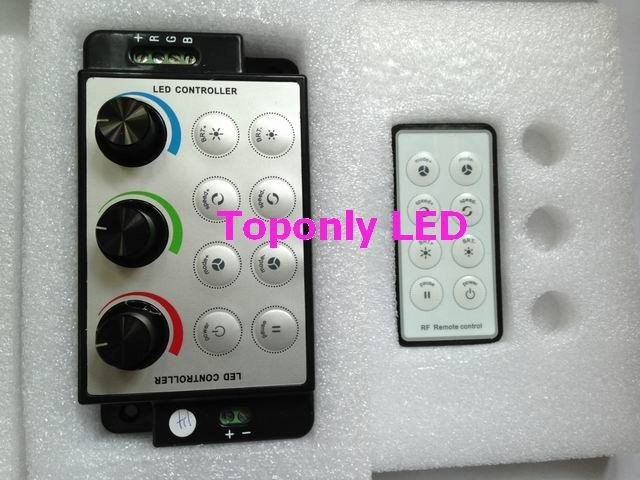 DC12/24V 216/432W knob dimming led rgb remote controller equipped with 8 key RF remote control 100pcs/lot 2017 wholesale CE&ROHS