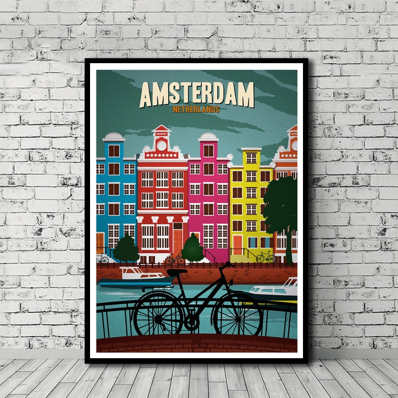 US $7 66 20% OFF|Minimalist Travel Posters Vintage Travel Amsterdam Canvas  Print Wall Art Decor No Frame-in Painting & Calligraphy from Home & Garden