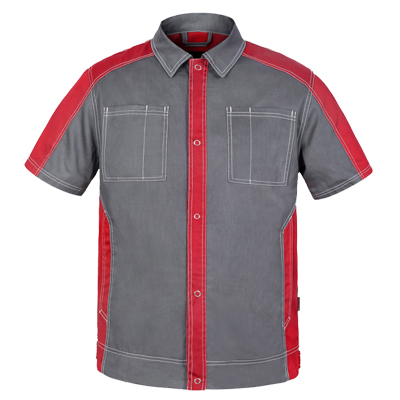 Bauskydd Bauskydd Men's durable workwear dark grey red short sleeve work jacket work polo shirt wear resistance work uniform