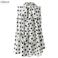 LXUNYI Woman Blouses Plus Size 2018 Summer Chiffon Sleeveless Blouse Women Polka Dot Turtleneck Bow Loose Ladies Formal Shirt