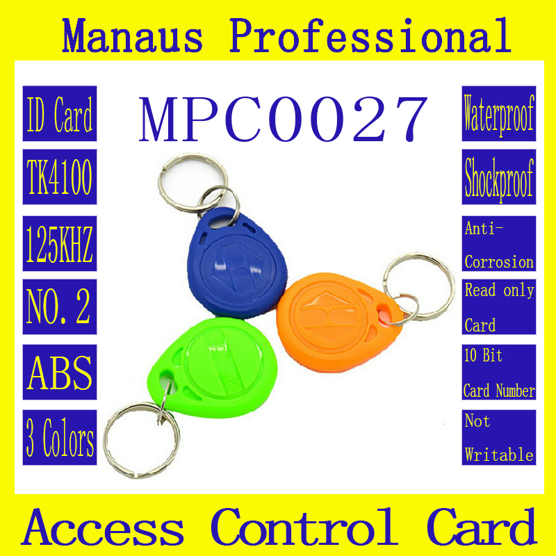 High Quality 100Pcs 3 Colors RFID 125khz Chip Contactless Timecard Tag Proximity Access Control ID Card Keyfob Token C-27