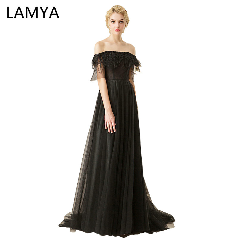 Lamya 2018 Black Feathers Evening Dresses With Beading Women