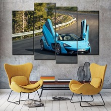 Modular Picture Home Wall Decor One Set Art 4 Piece Mclaren 570s Spider Super Blue Car Poster On Canvas Print Painting