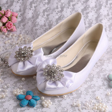 Wedopus Новые Поступления Женщин Конструктора Мода Квартира с Большой Лук Атласная Свадебное Свадебная Обувь