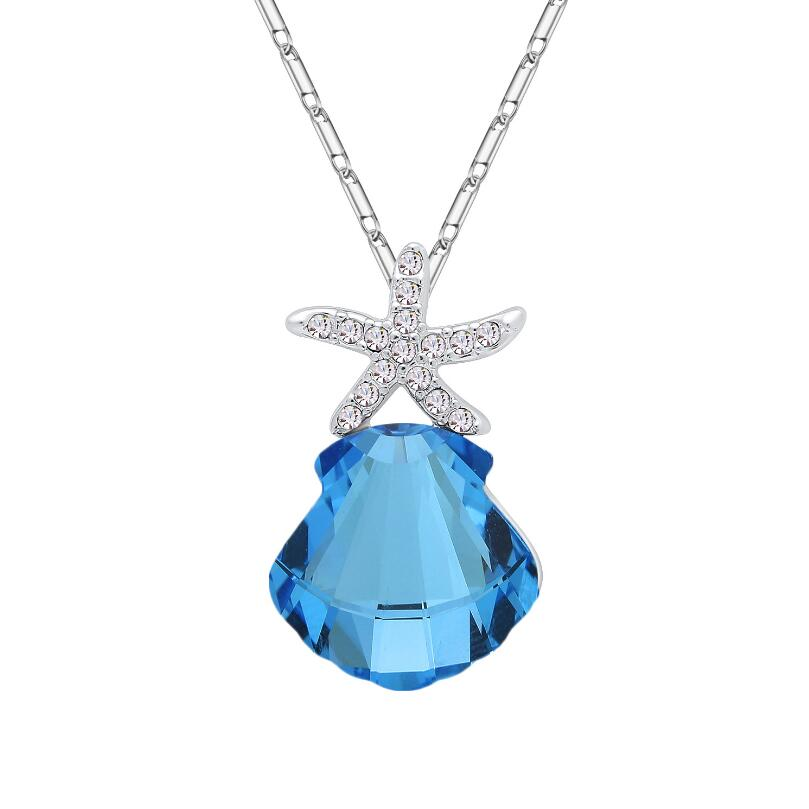 Trendy Geometric Stone Girls Wedding Jewelry Shell Shape Crystal Necklaces & Pendants For Women Starfish Pendant Necklace