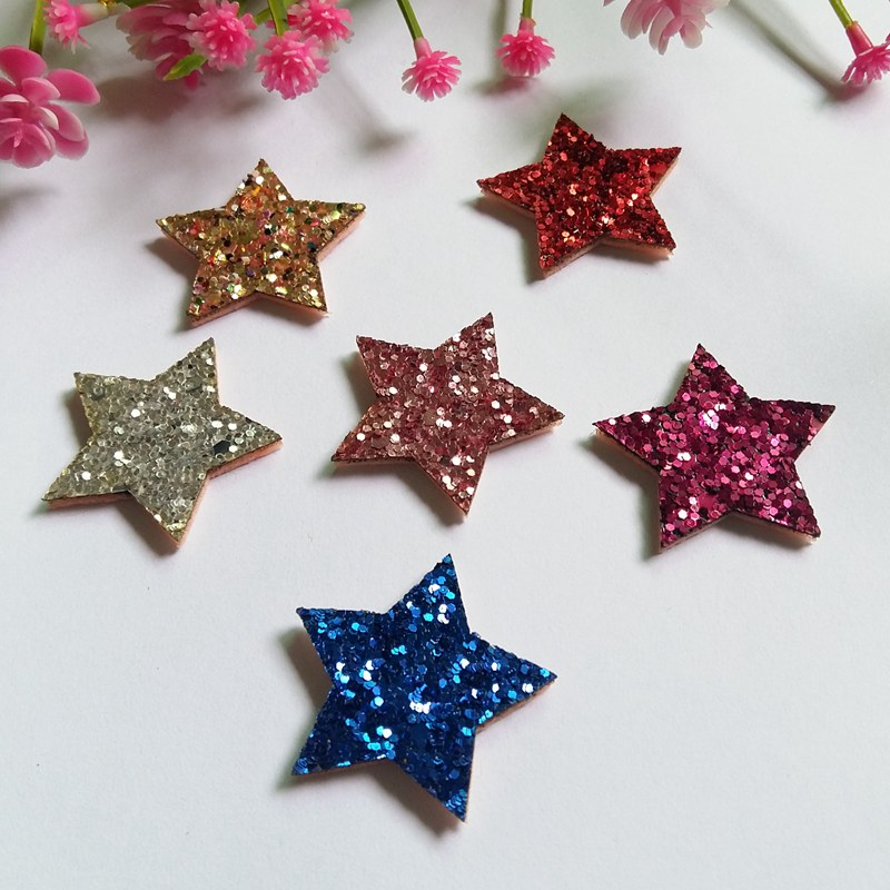 80pcs 3.2cm Glitters Star Padded Appliqued Felt butterfly patches stick-on Cloth/hat/shoe/bag/jewelry decorative Accessories