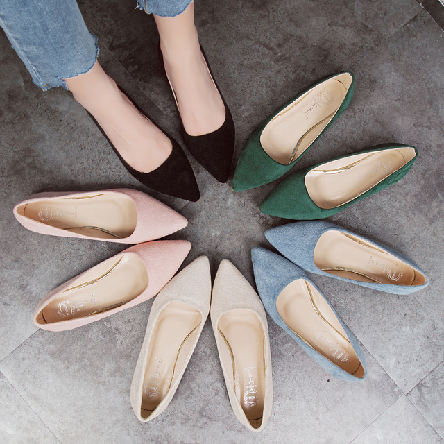 2019 Spring New Fashion Women Flats Slip on Flat Shoes Candy Color Woman Boat Shoes Black Loafers Faux Suede Ladies Ballet Flats