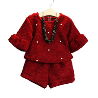 2018 Fall Winter Children's Clothing Set Little Girls Plus Velvet Thickening Flare Sleeve Tops + Shorts Twinset Kids Clothes A66