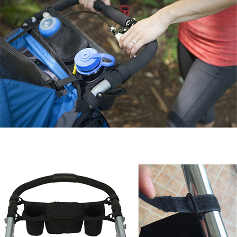Baby Stroller Accessories New Universal Carriage BottleTravel Bag Pram Pushchair Safe Console Tray Cup Holder Bag Black P25