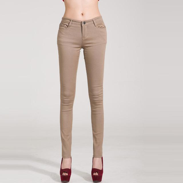 Woman jeans Solid Pencil women Pants  Girls Sweet Candy Color Slim Trousers Femme Pantalon
