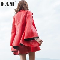 Presell EAM 2017 New Autumn Lapel Long Flare Sleeve Solid Color PU Leather Jacket Women Coat