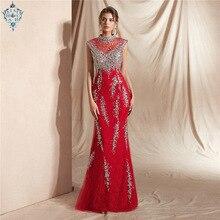 Ameision sexy Burgundy Mermaid Long Evening Dress 2019 Lace Formal Illusion Back Crystal Beading Sleeveless Women Wear
