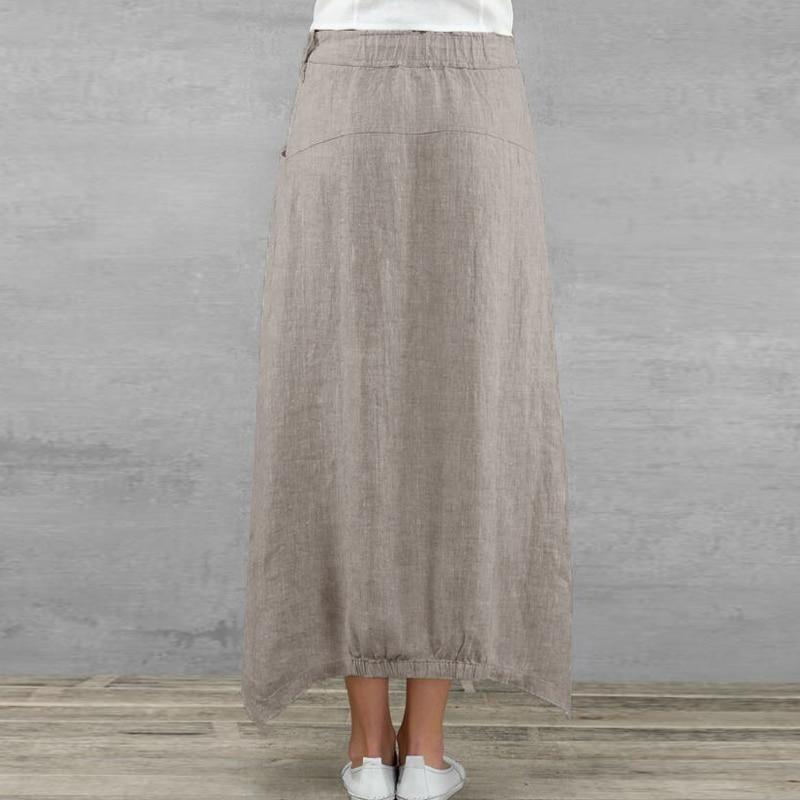 Celmia Vintage Women Maxi Skirts 19 Summer Casual Loose High Waist Asymmetrical Linen Skirt Plus Size Long Pleated Beach Skirt 7