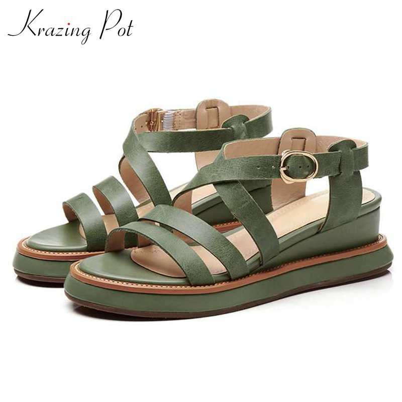 Krazing Pot thick bottom gladiator summer shoes buckle straps peep toe British school wedges model runway