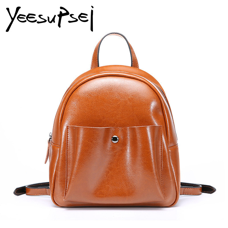 YeeSupSei Sweet Beauty Style Bag Real Leather Women Shell Solid Color Zipper School Bag For Teenager Small Backpack Fashion Bag guapabien sweet beauty style bag pu leather women shell solid color zipper school bag for teenager small back pack shoulder bag