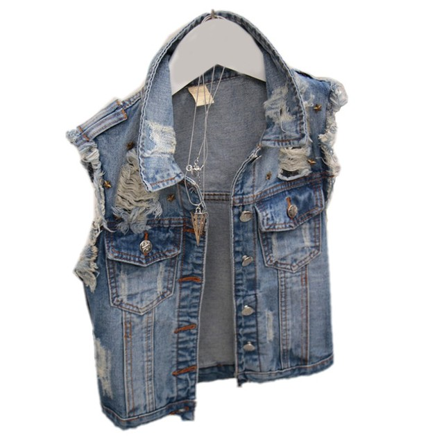 New Fashion Summer Style Women Jeans Vest Ripped Holes Washed Vest Jeans Vintage Slim Rivet women Jeans Vest  S M L  HS1571