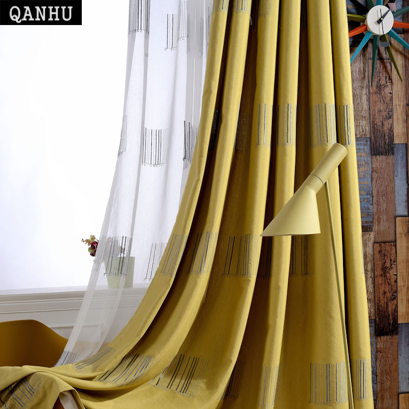 QANHU 2017 New Arrival Blackout Curtains for Bedroom Polyester/Cotton Comfortable Gauze/Curtains Set for the Living Room A-3
