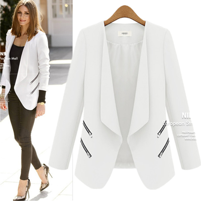 Ladies Blazer Long Personality Zipper Pocket Jacket Sleeve Blaser Women Single Button Slim Suit Jackets For Women Autumn
