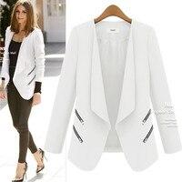 Ladies Blazer Long Personality Zipper Pocket Jacket Sleeve Blaser Women Single Button Slim Suit jackets for women Autumn