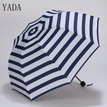 YADA Navy Pink Design Stripe Pattern Folding Rainy Umbrella For Women Men  Anti-UV Lovely Lace Princess Cute Gift YD026