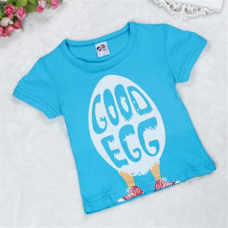Summer Children Boy Kids Egg Pattern Short Sleeve Tops T-Shirt Tees Children Casual Clothing