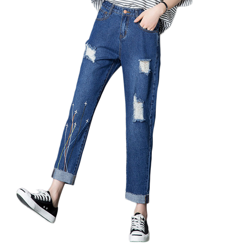 High Quality American Apparel BF Hole Jeans For Women Mid Waist Line Embroidered Straight Denim Pants 2017 Fashion Ladies Jeans american apparel bf women jeans high waist floral 3d embroidery high waist ladies straight denim pants jeans bottoms plus size