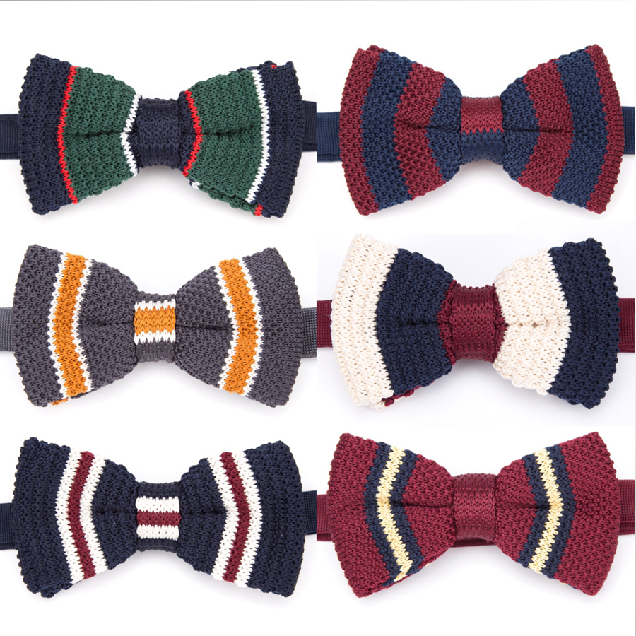 Bowtie Fashion Men Bow Tie Striped Necktie Women Adjustable Butterfly Double Deck Neckwear Bowtie Knitting Dress Knitted Ties