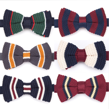 Bowtie Fashion Men Bow Tie Striped Necktie Women Adjustable Butterfly Double Deck Neckwear Knitting Dress Knitted Ties