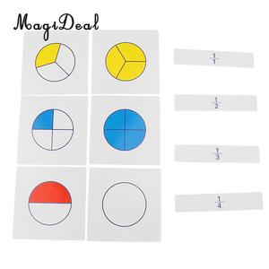 MagiDeal 1 Set Montessori Math Teaching Aids Kids Early Childhood Education Digital Fraction Card for Learning Mathematics Toy