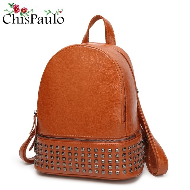 e8bd31da8e10 CHISPAULO Brand Women Designer Rivets Genuine Leather Backpack Vintage High  Quality Girls School Rucksack Ladies Back