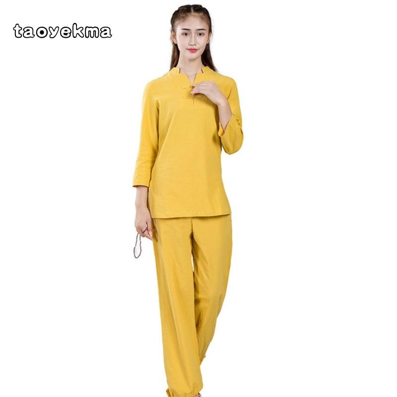 Taoyekma Tai Chi Uniform Cotton High Quality Wushu Kung Fu Clothing Kids Adults Martial Arts Wing Chun Suit Bardagalist Set