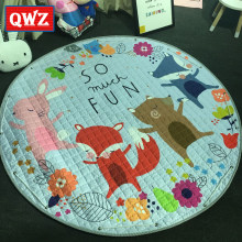 QWZ Cartoon Lovely Fox Image Baby Play Mats Child Developing Crawling Rug Carpet Kids Toys Storage Bag Nordic Style Room Decor(China)