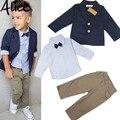 2015 Niños Ropa Conjuntos Caballero Guapo Denim Niños jacket + shirt + pants 3 unids/set niños bebés Niños trajes Calientes venta