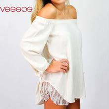 Women Female Solid Fashion Sexy Off-Shoulder Long Sleeve Top Fit Loose Stylish Blouses White S/M/L/XL Blusas Y Camisas Mujer