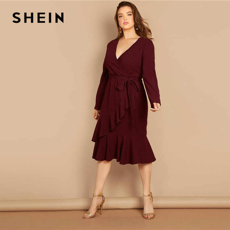 SHEIN Burgundy V Neck Tie Waist Asymmetric Ruffle Hem Plus Size Women  Dresses Office Lady Elegant eadf6923bfca