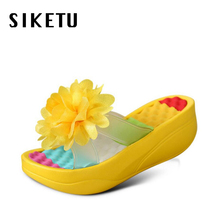 2017 fashion swing women's shoes summer sandals female slippers flower platform wedges slipper flip flops high heels footwear