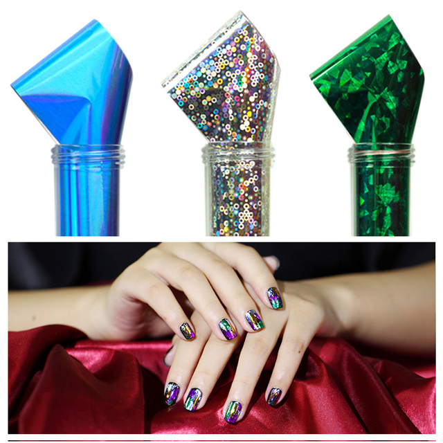 50 Lots Colorful Dazzling Holographic Foil Galaxy Nail Art Stickers ...